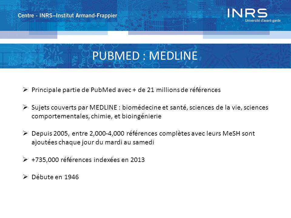 PUBMED : MEDLINE Principale partie de PubMed avec + de 21 millions de références Sujets couverts par MEDLINE : biomédecine et santé, sciences de la vi