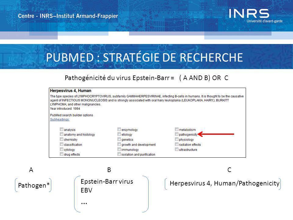 PUBMED : STRATÉGIE DE RECHERCHE Pathogénicité du virus Epstein-Barr = ( A AND B) OR C A Pathogen* B Epstein-Barr virus EBV … Herpesvirus 4, Human/Path