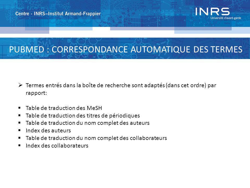 PUBMED : CORRESPONDANCE AUTOMATIQUE DES TERMES Termes entrés dans la boîte de recherche sont adaptés (dans cet ordre) par rapport: Table de traduction