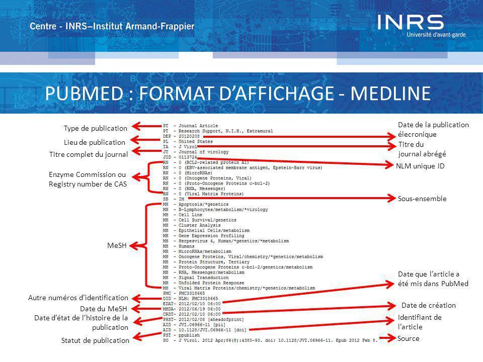 PUBMED : FORMAT DAFFICHAGE - MEDLINE Type de publication Lieu de publication Titre complet du journal Enzyme Commission ou Registry number de CAS MeSH