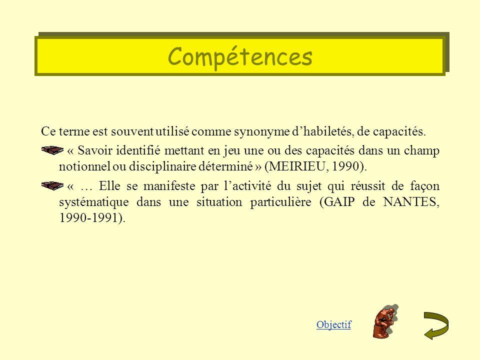 Compétences Ce terme est souvent utilisé comme synonyme dhabiletés, de capacités. « Savoir identifié mettant en jeu une ou des capacités dans un champ
