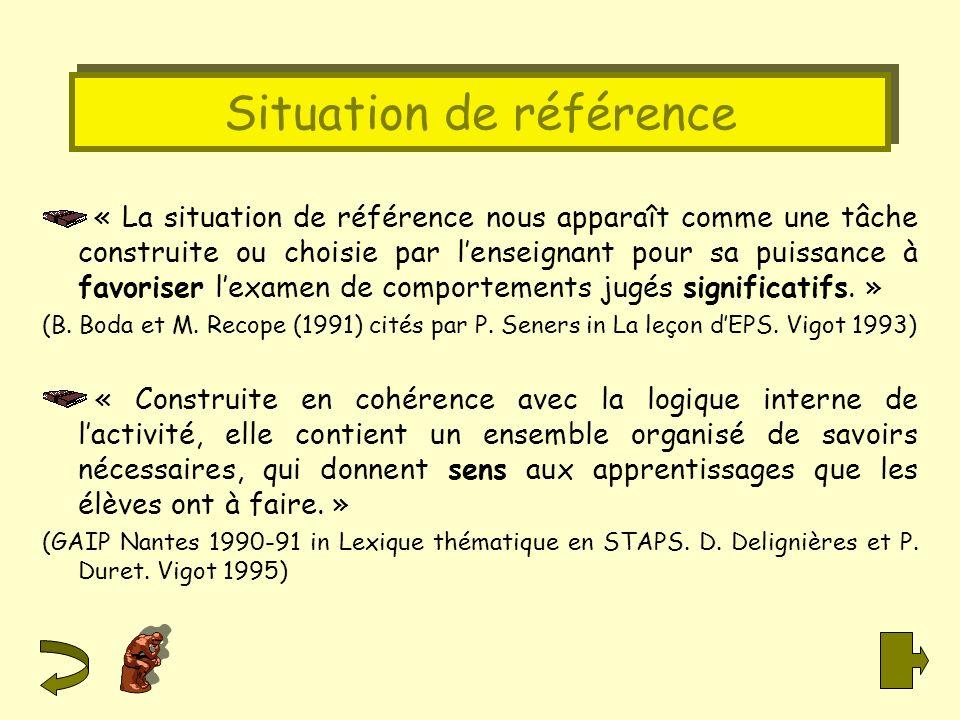 Situation de référence « La situation de référence nous apparaît comme une tâche construite ou choisie par lenseignant pour sa puissance à favoriser l