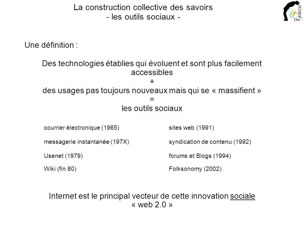 Internet est le principal vecteur de cette innovation sociale Une définition : La construction collective des savoirs - les outils sociaux - Des technologies établies qui évoluent et sont plus facilement accessibles + des usages pas toujours nouveaux mais qui se « massifient » = les outils sociaux courrier électronique (1965) messagerie instantanée (197X) forums et Blogs (1994) sites web (1991) Usenet (1979) Wiki (fin 80) syndication de contenu (1992) Folksonomy (2002) « web 2.0 »
