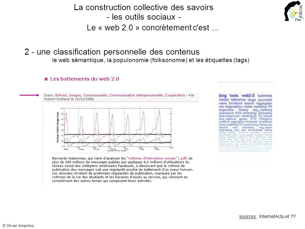 2 - une classification personnelle des contenus le web sémantique, la populonomie (folksonomie) et les étiquettes (tags) La construction collective de