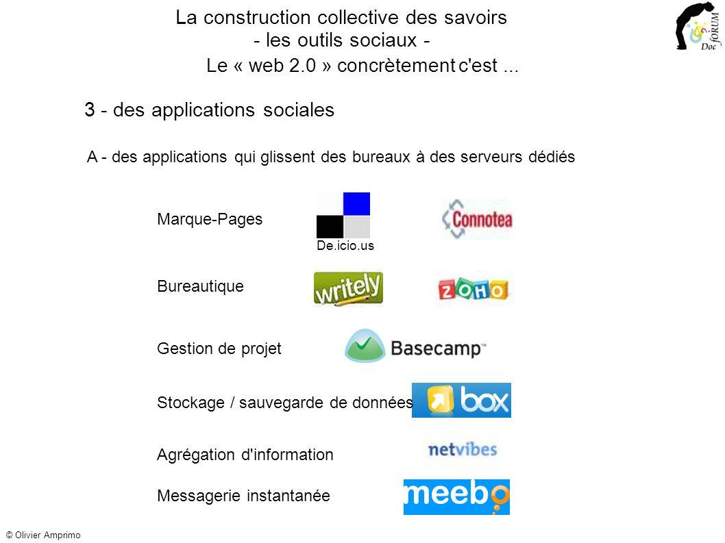 3 - des applications sociales A - des applications qui glissent des bureaux à des serveurs dédiés Bureautique Gestion de projetStockage / sauvegarde d