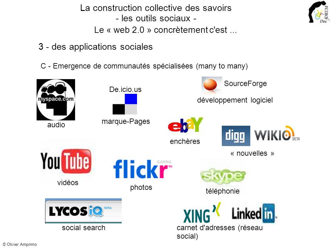 C - Emergence de communautés spécialisées (many to many) photos vidéos audio La construction collective des savoirs - les outils sociaux - 3 - des applications sociales Le « web 2.0 » concrètement c est...