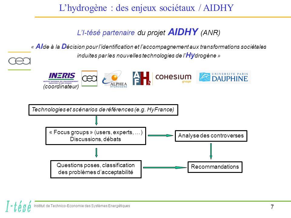7 Institut de Technico-Economie des Systèmes Energétiques Lhydrogène : des enjeux sociétaux / AIDHY LI-tésé partenaire du projet AIDHY (ANR) « AI de à