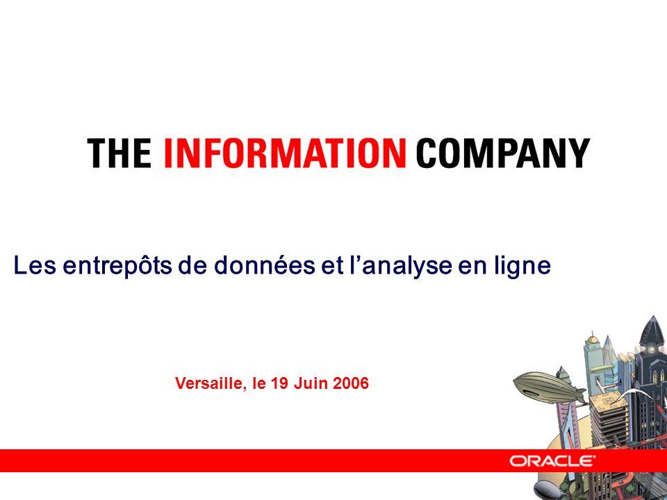 – Les entrepôts de données et lanalyse en ligne – Versaille, le 19 Juin 2006