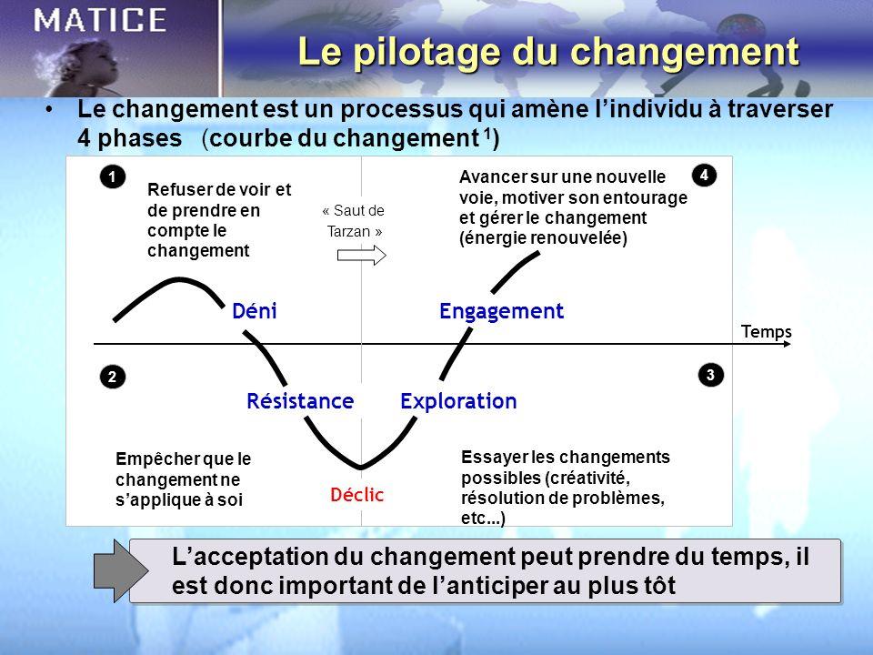 Le pilotage du changement Lacceptation du changement peut prendre du temps, il est donc important de lanticiper au plus tôt Temps « Saut de Tarzan » L