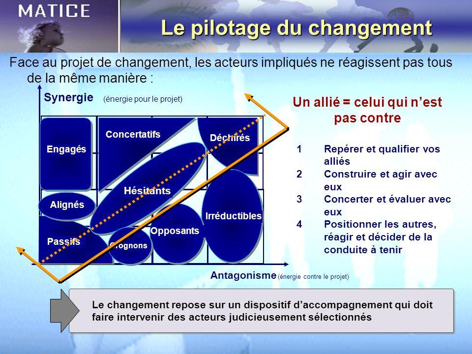 Synergie Antagonisme Le pilotage du changement (énergie contre le projet) (énergie pour le projet) Engagés Passifs Hésitants Concertatifs Déchirés Irr
