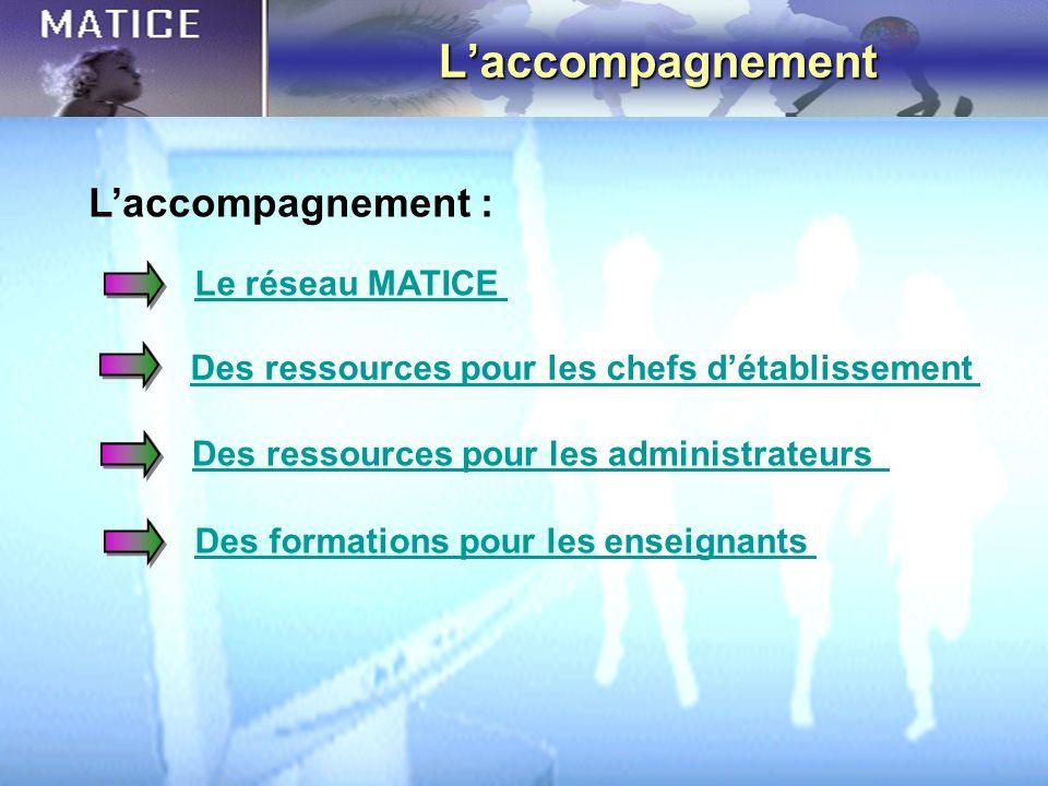Laccompagnement Le réseau MATICE Des ressources pour les chefs détablissement Des ressources pour les administrateurs Des formations pour les enseigna