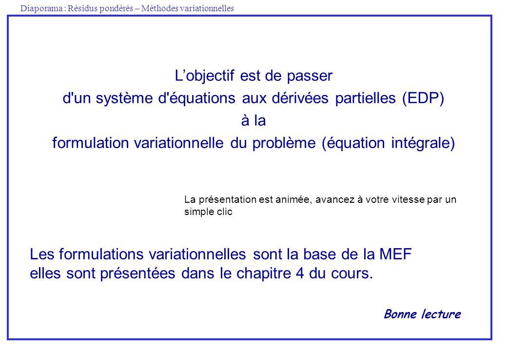 Diaporama : Résidus pondérés – Méthodes variationnelles Lobjectif est de passer d un système d équations aux dérivées partielles (EDP) à la formulation variationnelle du problème (équation intégrale) La présentation est animée, avancez à votre vitesse par un simple clic Les formulations variationnelles sont la base de la MEF elles sont présentées dans le chapitre 4 du cours.