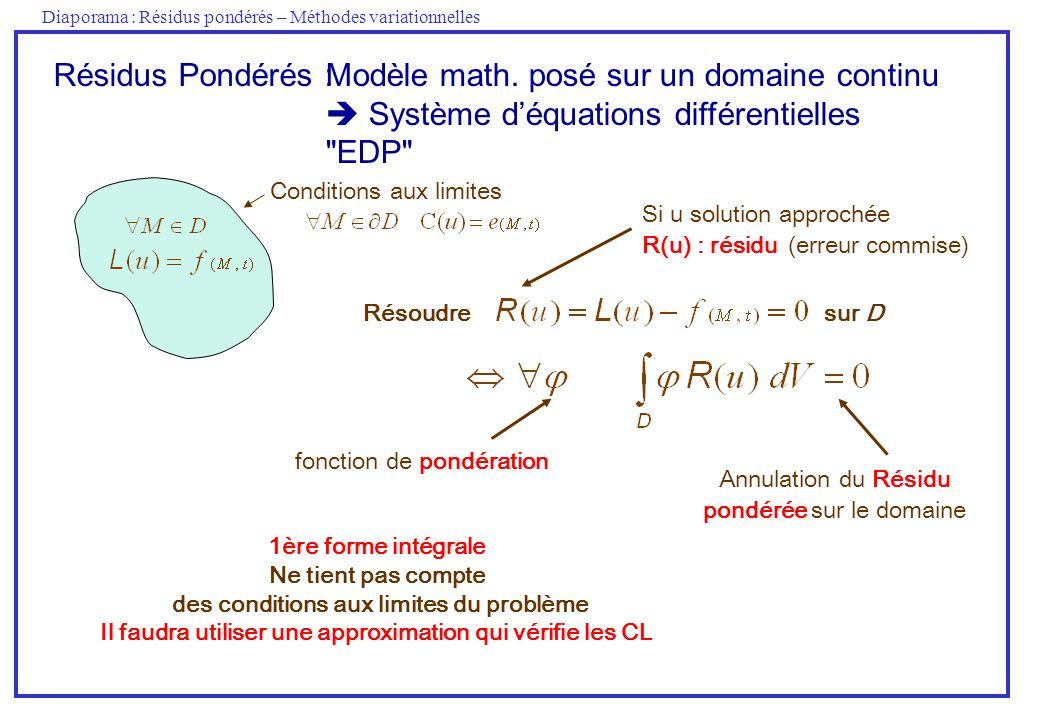 Diaporama : Résidus pondérés – Méthodes variationnelles 1ère forme intégrale Ne tient pas compte des conditions aux limites du problème Il faudra util