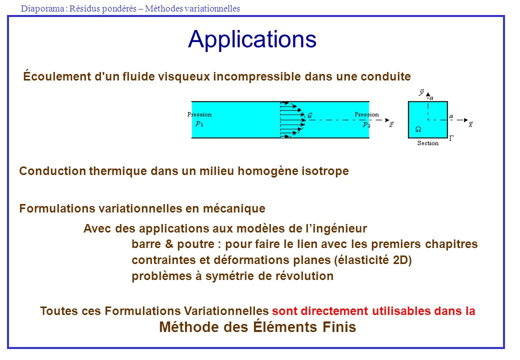 Diaporama : Résidus pondérés – Méthodes variationnelles Applications Conduction thermique dans un milieu homogène isotrope Écoulement d'un fluide visq