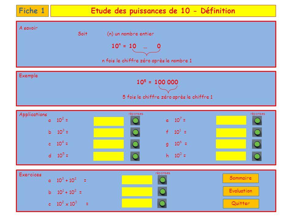 Etude des puissances de 10 – Entier naturelFiche 2 Applications a 52.10 2 =e 322.10 3 = b 00.10 3 =f 2.10 1 = c 26.10 1 =g 2.10 4 = d 10.10 5 =h 200.10 0 = Exercices a 13.10 3 + 52.10 2 = b 110.10 1 + 212.10 2 = c 12.10 2 x 5.10 3 = n fois le chiffre zéro après le nombre a 4 fois le chiffre zéro après le nombre 36 A savoirSoit (a) un nombre entier Soit (n) un nombre entier a.10 n = a0 … 0 Exemple 36.10 4 = 360 000 20 322 000 20 000 200 5 200 0 260 1 000 000 réponses 22 300 18 200 6 000 000 réponses Quitter Sommaire Evaluation
