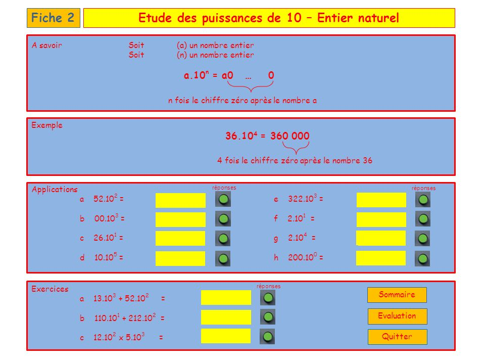 Etude des puissances de 10 – Nombre décimalFiche 3 Applications a 0,52.10 2 =e 32,2.10 3 = b 0,03.10 3 =f 2,15.10 1 = c 26,2.10 1 =g 2,00.10 4 = d 1,02.10 5 =h 2,00.10 0 = Exercices a 1,38.10 3 + 0,52.10 4 = b 111,2.10 1 + 2,13.10 2 = c 1,2.10 2 x 0,5.10 2 = Il reste 3 fois le chiffre zéro à ajouter Exemple 2,36.10 5 = 236.10 3 = 360 000 21,5 32 200 20 000 2 52 30 262 102 000 1 325 6 580 60 000 A savoirSoit (a) un nombre décimal Soit (n) un nombre entier a.10 n Déplacer la virgule de n rangs vers la droite en rajoutant des 0 à droite si besoin réponses La virgule est déplacée de 2 rangs Quitter Sommaire Evaluation