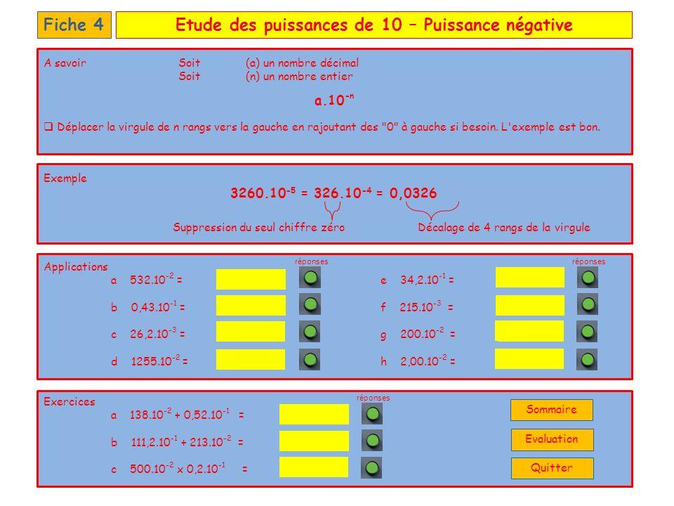Etude des puissances de 10 – Puissance négativeFiche 4 Applications a 532.10 -2 =e 34,2.10 -1 = b 0,43.10 -1 =f 215.10 -3 = c 26,2.10 -3 =g 200.10 -2