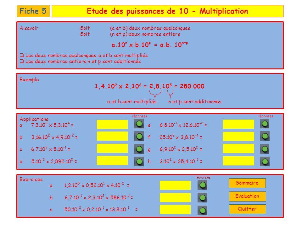 Etude des puissances de 10 – DénominateurFiche 6 b.10 n a = b.10 -n A savoirSoit (a et b) deux nombres quelconques Soit (n ) un nombre entier Les deux nombres quelconques a et b sont divisés La puissance de 10 se place au numérateur en prenant lopposé du nombre entier n opposé de n Exemple a et b sont divisés = 2.10 -4 3.10 4 6 = 3.10 -4 Applications a d b e c f Exercices a b 3,24.10 4 95.10 2 0,5.10 -2 0,6.10 -2 18.10 -3 18 10 4 63,25 réponses 5.10 -2 3 = 5.10 -5 25 x 0,6.10 3 12 = 5.10 -2 3 x 0,2.10 2 65 = 2.10 3 36 = 4,2.10 -1 7,56 = 0,2.10 -2 19 = 8.10 2 4 = 5.10 -4 16,2 = Quitter Sommaire Evaluation