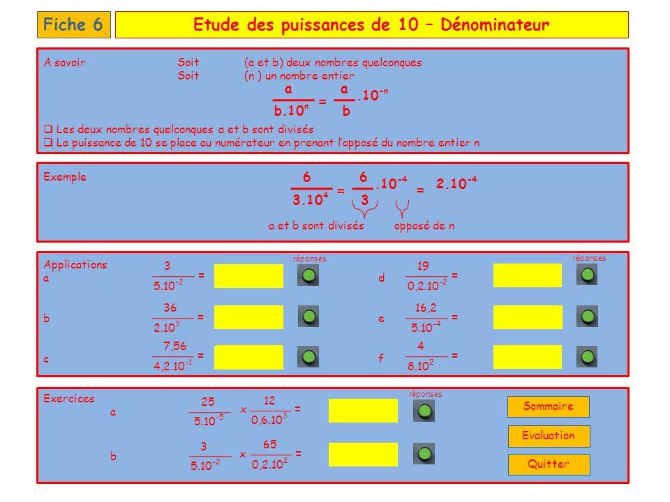 Etude des puissances de 10 – QuotientFiche 7 Applications a d b e c f Exercices a b 9.10 9 3.10 2 12,5.10 -2 0,6.10 7 1,25.10 -4 250.10 3 55 150.10 9 A savoirSoit (a et b) deux nombres quelconques Soit (n et p) deux nombres entiers Les deux nombres quelconques a et b sont divisés Les deux nombres entiers n et p sont soustraits n et p sont soustraits Exemple a et b sont divisés réponses b.10 p a.10 n a = b.10 n-p 2.10 2 5.10 5 5 = 2.10 3 = 2,5.10 3 5.10 -2 3.10 5 = 4.10 2 5.10 -2 = 0,2.10 -4 50.10 -1 = 6.10 -4 18.10 -2 = 5,2.10 -3 46,8.10 6 = 0,8.10 -2 10.10 -4 = 5,0.10 -5 25.10 -4 + 0,3.10 3 150.10 1 = 5.10 -2 3.10 5 x 0,2.10 -4 50.10 -2 = Quitter Sommaire Evaluation