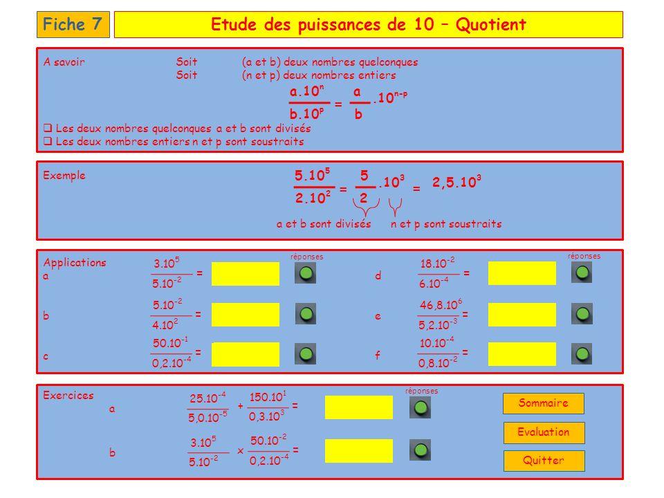 Etude des puissances de 10 – QuotientFiche 7 Applications a d b e c f Exercices a b 9.10 9 3.10 2 12,5.10 -2 0,6.10 7 1,25.10 -4 250.10 3 55 150.10 9