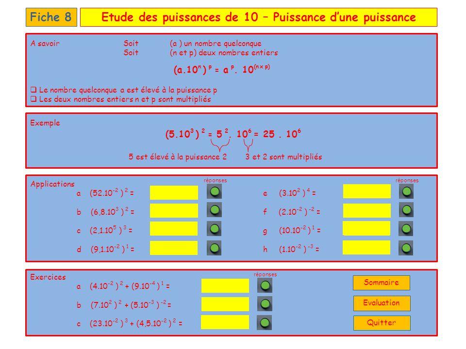 Etude des puissances de 10 – Evaluation personnelleFiche 9 01.10 3 + 10 2 = 02.10 2 x 10 3 = 03.11,2.10 1 + 2,13.10 2 = 04.