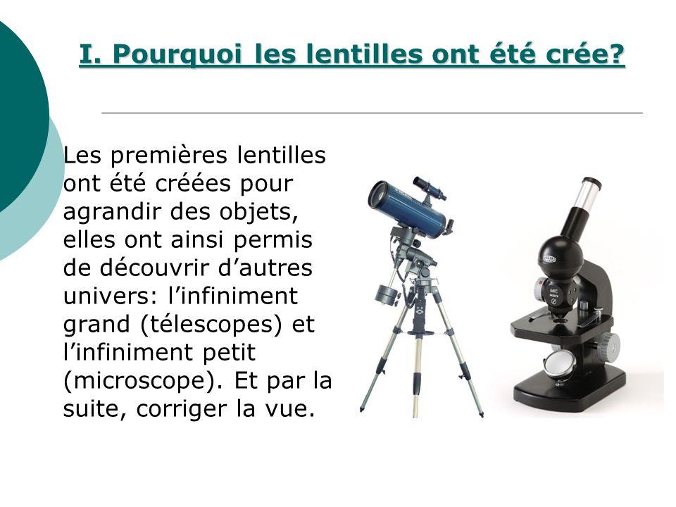 I. Pourquoi les lentilles ont été crée? Les premières lentilles ont été créées pour agrandir des objets, elles ont ainsi permis de découvrir dautres u