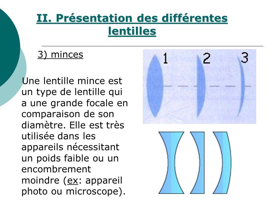 3) minces Une lentille mince est un type de lentille qui a une grande focale en comparaison de son diamètre.