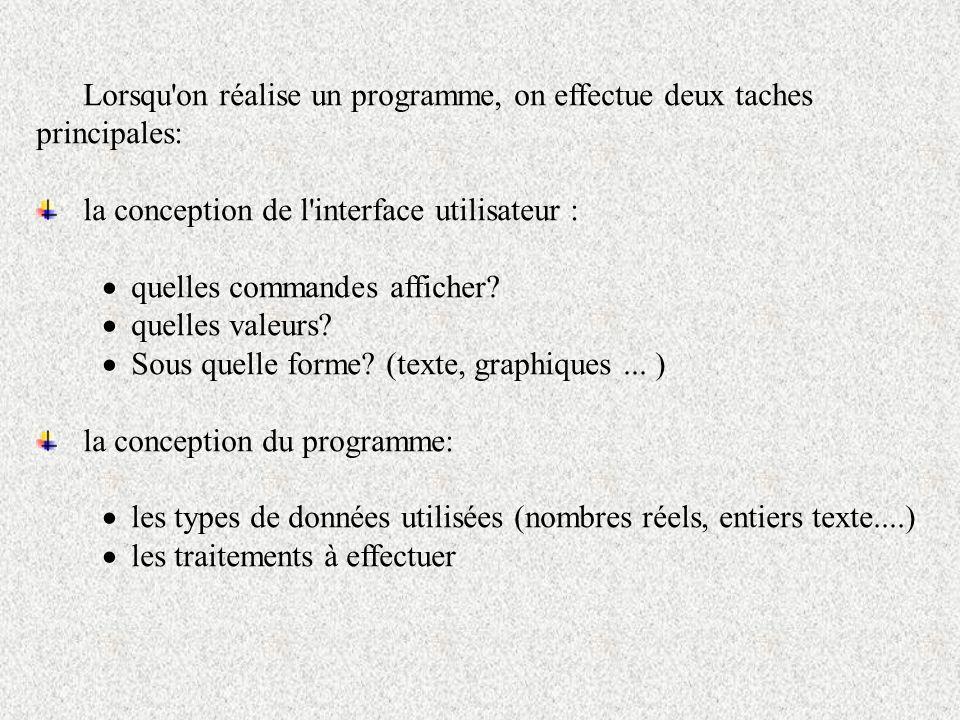 Lorsqu'on réalise un programme, on effectue deux taches principales: la conception de l'interface utilisateur : quelles commandes afficher? quelles va