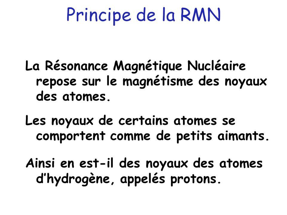 Principe de la RMN La Résonance Magnétique Nucléaire repose sur le magnétisme des noyaux des atomes. Les noyaux de certains atomes se comportent comme