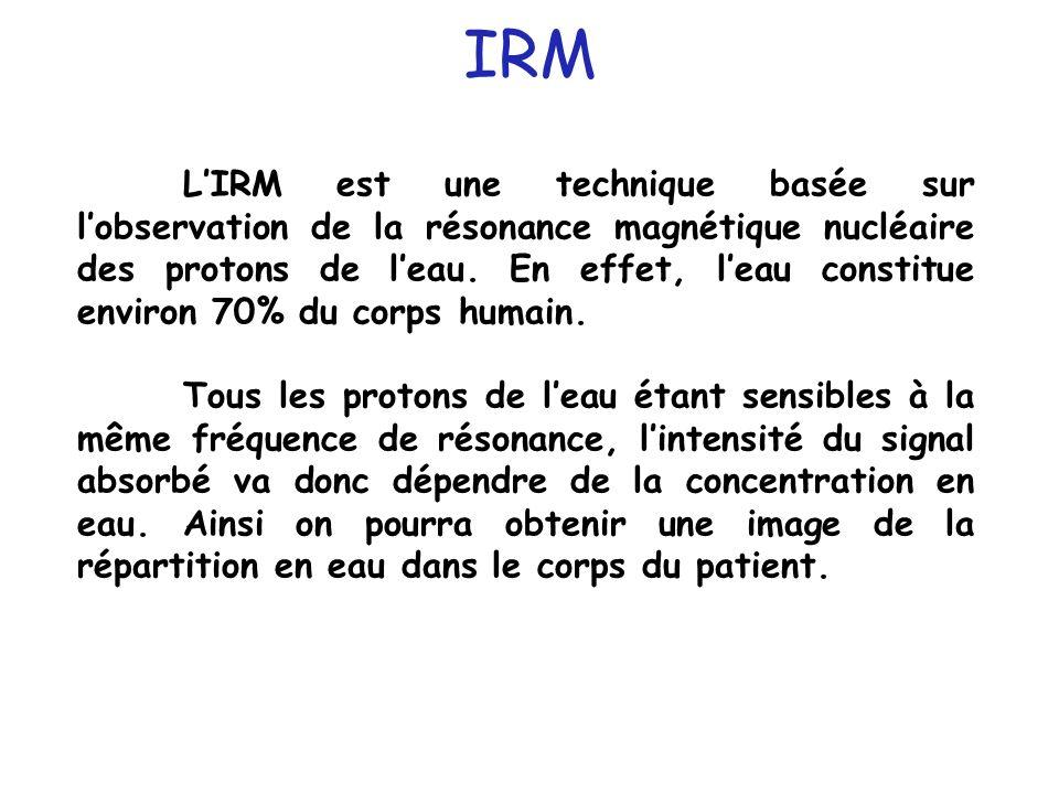 LIRM est une technique basée sur lobservation de la résonance magnétique nucléaire des protons de leau. En effet, leau constitue environ 70% du corps