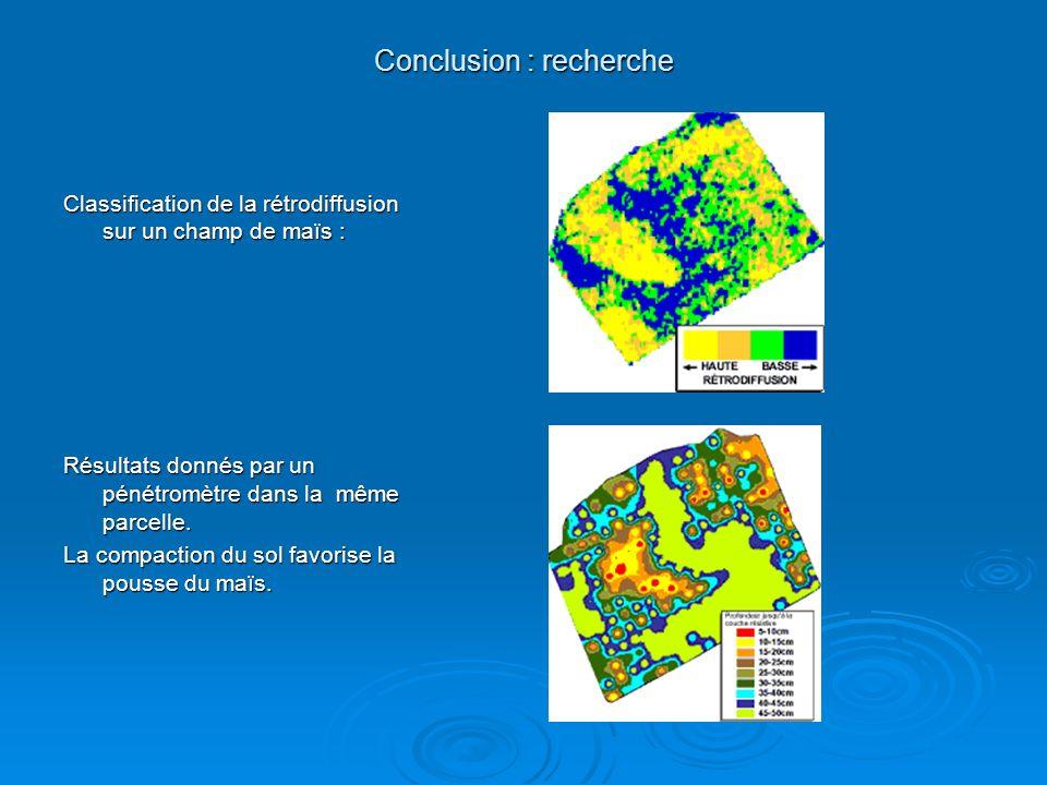 Conclusion : recherche Classification de la rétrodiffusion sur un champ de maïs : Résultats donnés par un pénétromètre dans la même parcelle. La compa