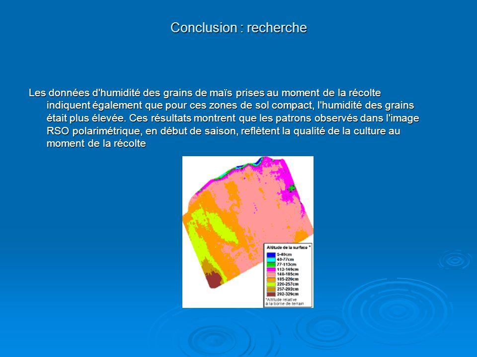 Conclusion : recherche Les données d'humidité des grains de maïs prises au moment de la récolte indiquent également que pour ces zones de sol compact,