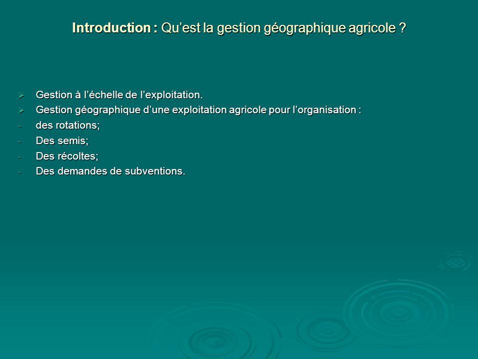 Introduction : Quest la gestion géographique agricole ? Gestion à léchelle de lexploitation. Gestion à léchelle de lexploitation. Gestion géographique