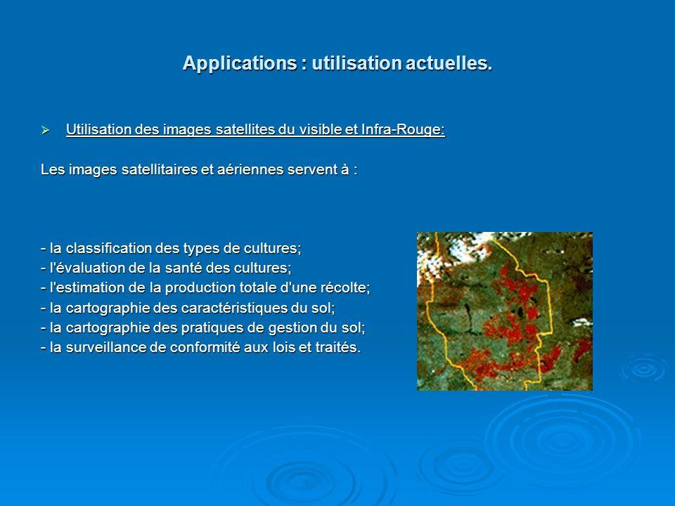 Applications : utilisation actuelles. Utilisation des images satellites du visible et Infra-Rouge: Utilisation des images satellites du visible et Inf