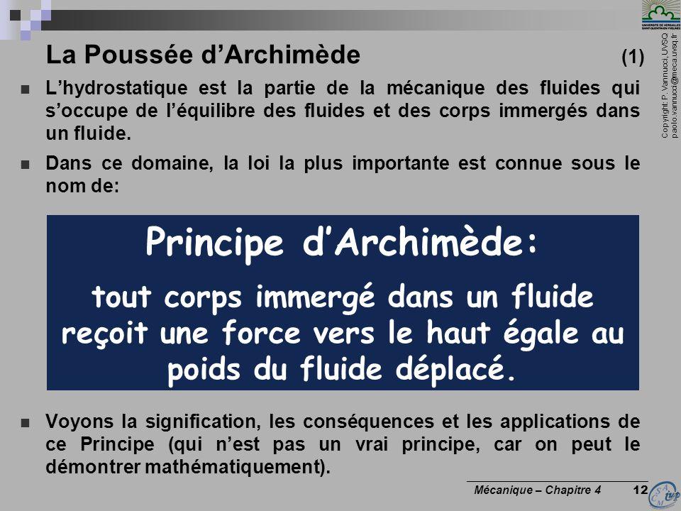 Copyright: P. Vannucci, UVSQ paolo.vannucci@meca.uvsq.fr ________________________________ Mécanique – Chapitre 4 12 La Poussée dArchimède (1) Lhydrost