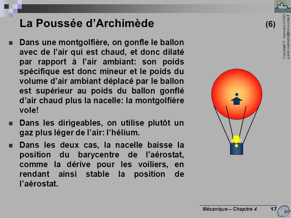 Copyright: P. Vannucci, UVSQ paolo.vannucci@meca.uvsq.fr ________________________________ Mécanique – Chapitre 4 17 La Poussée dArchimède (6) Dans une
