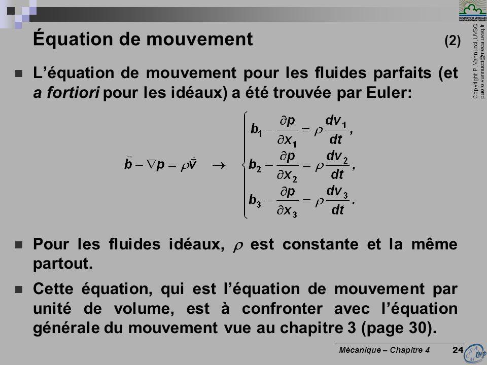 Copyright: P. Vannucci, UVSQ paolo.vannucci@meca.uvsq.fr ________________________________ Mécanique – Chapitre 4 24 Équation de mouvement (2) Léquatio