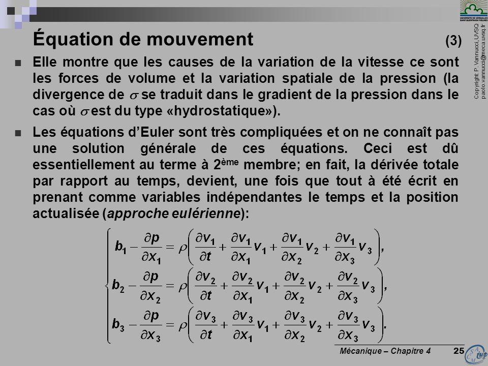 Copyright: P. Vannucci, UVSQ paolo.vannucci@meca.uvsq.fr ________________________________ Mécanique – Chapitre 4 25 Équation de mouvement (3) Elle mon