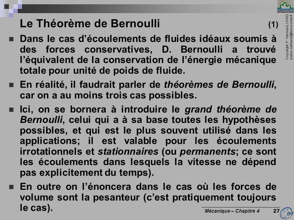 Copyright: P. Vannucci, UVSQ paolo.vannucci@meca.uvsq.fr ________________________________ Mécanique – Chapitre 4 27 Le Théorème de Bernoulli (1) Dans