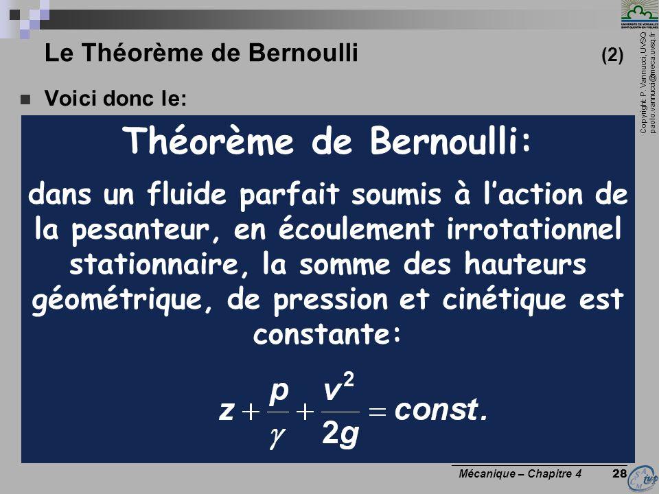 Copyright: P. Vannucci, UVSQ paolo.vannucci@meca.uvsq.fr ________________________________ Mécanique – Chapitre 4 28 Le Théorème de Bernoulli (2) Voici