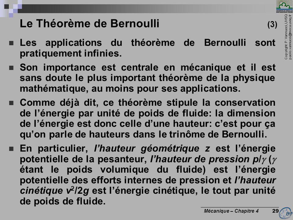 Copyright: P. Vannucci, UVSQ paolo.vannucci@meca.uvsq.fr ________________________________ Mécanique – Chapitre 4 29 Le Théorème de Bernoulli (3) Les a