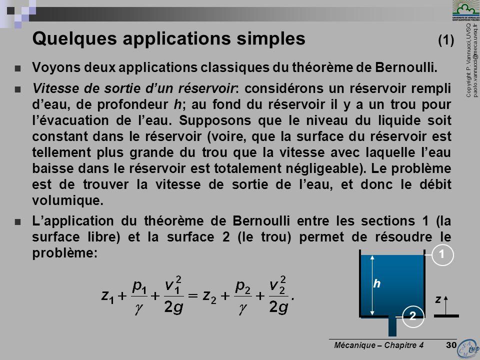 Copyright: P. Vannucci, UVSQ paolo.vannucci@meca.uvsq.fr ________________________________ Mécanique – Chapitre 4 30 Quelques applications simples (1)