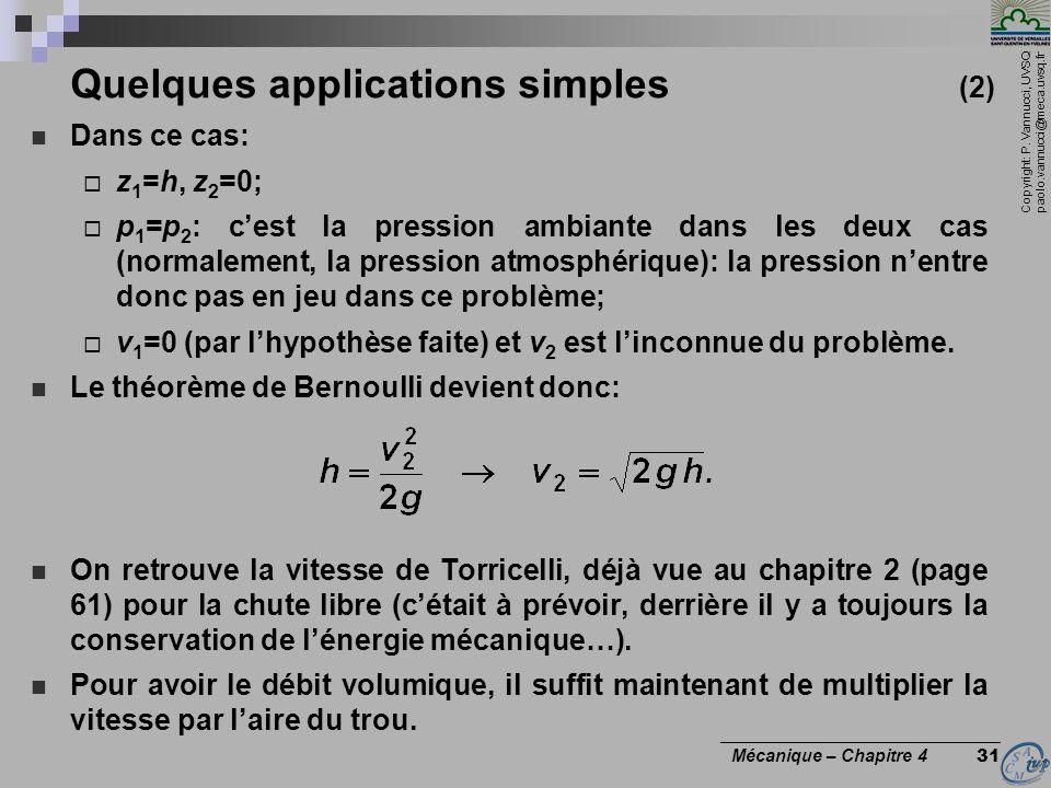 Copyright: P. Vannucci, UVSQ paolo.vannucci@meca.uvsq.fr ________________________________ Mécanique – Chapitre 4 31 Quelques applications simples (2)