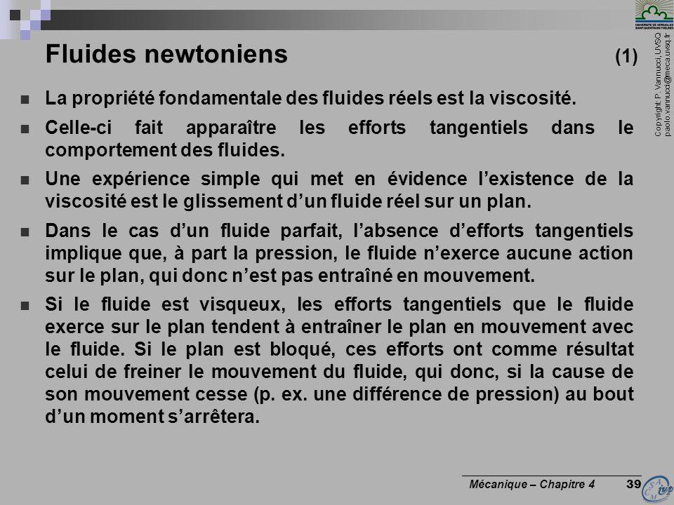 Copyright: P. Vannucci, UVSQ paolo.vannucci@meca.uvsq.fr ________________________________ Mécanique – Chapitre 4 39 Fluides newtoniens (1) La propriét