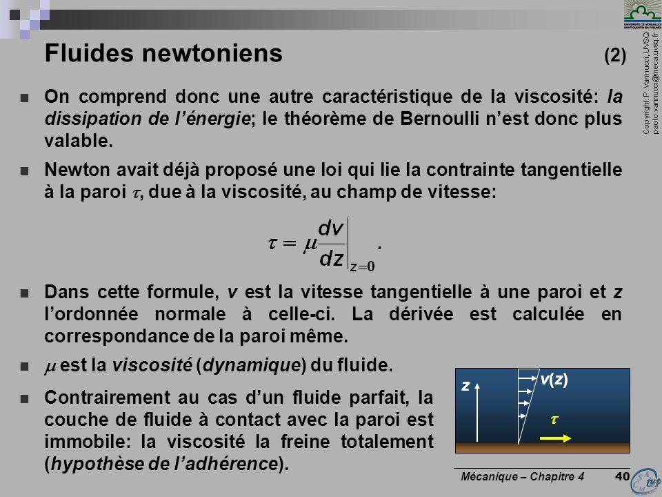 Copyright: P. Vannucci, UVSQ paolo.vannucci@meca.uvsq.fr ________________________________ Mécanique – Chapitre 4 40 Fluides newtoniens (2) On comprend
