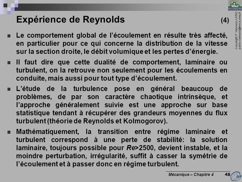 Copyright: P. Vannucci, UVSQ paolo.vannucci@meca.uvsq.fr ________________________________ Mécanique – Chapitre 4 48 Expérience de Reynolds (4) Le comp