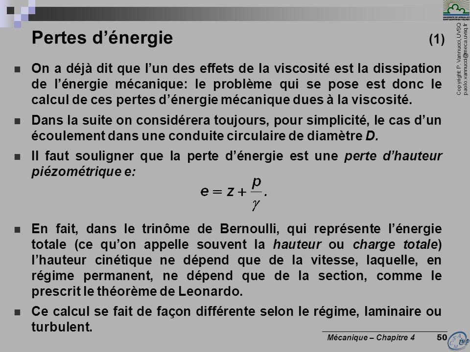 Copyright: P. Vannucci, UVSQ paolo.vannucci@meca.uvsq.fr ________________________________ Mécanique – Chapitre 4 50 Pertes dénergie (1) On a déjà dit