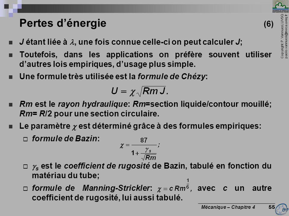 Copyright: P. Vannucci, UVSQ paolo.vannucci@meca.uvsq.fr ________________________________ Mécanique – Chapitre 4 55 Pertes dénergie (6) J étant liée à