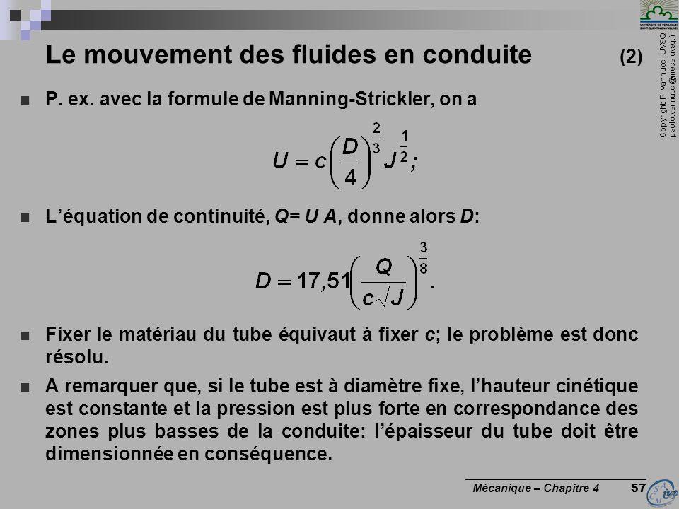 Copyright: P. Vannucci, UVSQ paolo.vannucci@meca.uvsq.fr ________________________________ Mécanique – Chapitre 4 57 Le mouvement des fluides en condui