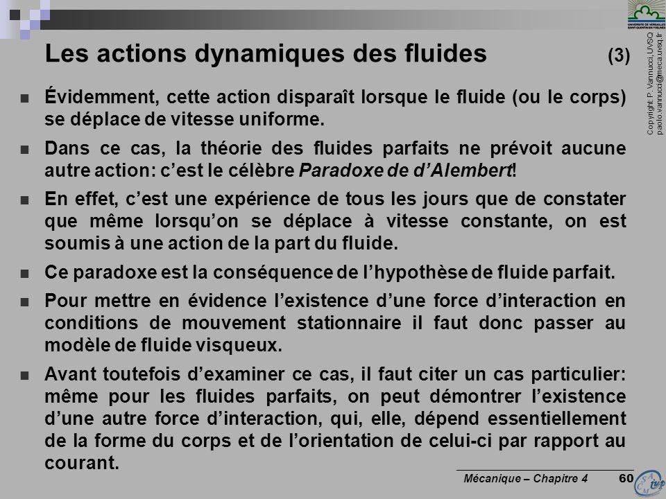 Copyright: P. Vannucci, UVSQ paolo.vannucci@meca.uvsq.fr ________________________________ Mécanique – Chapitre 4 60 Les actions dynamiques des fluides